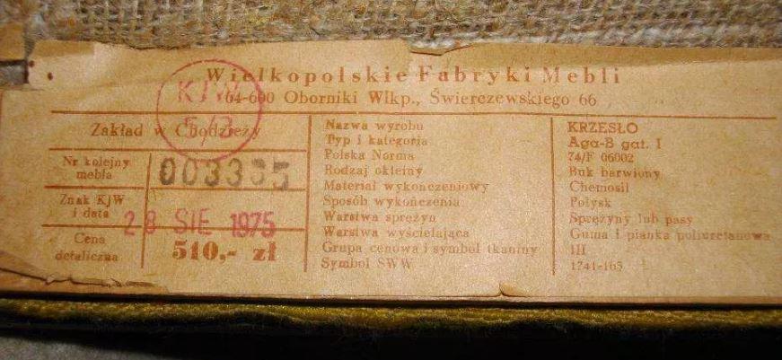 Krzesło Aga- etykieta