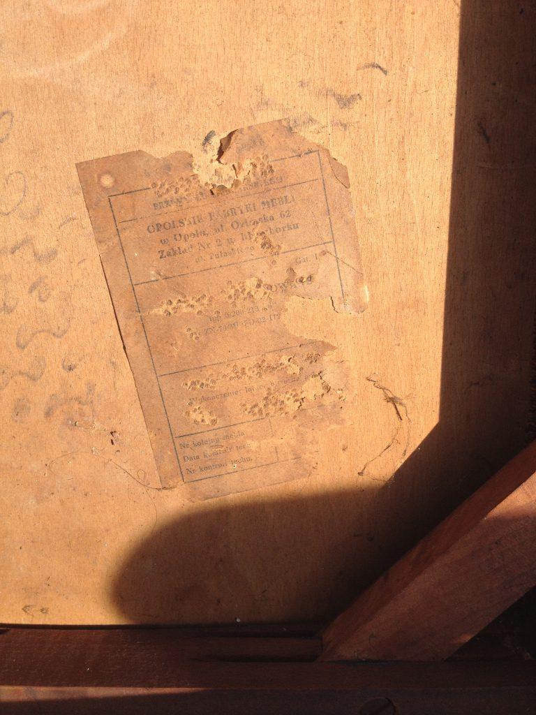 Krzesło typ 200-213- etykieta mebla PRL