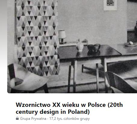 Wzornictwo XX wieku w Polsce, grupa na Facebooku