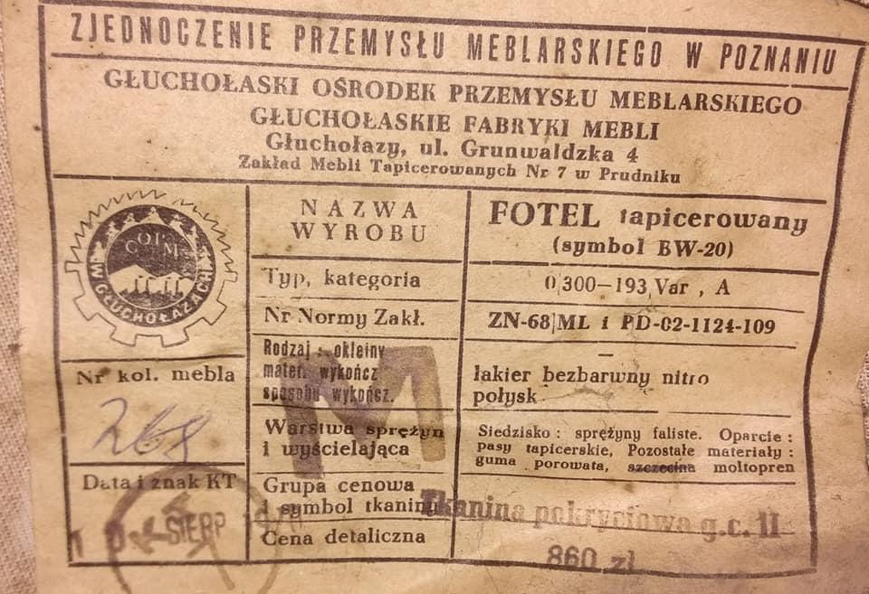 Etykieta fotela tapicerowanego typ BW-20 300-193, PRL 1970