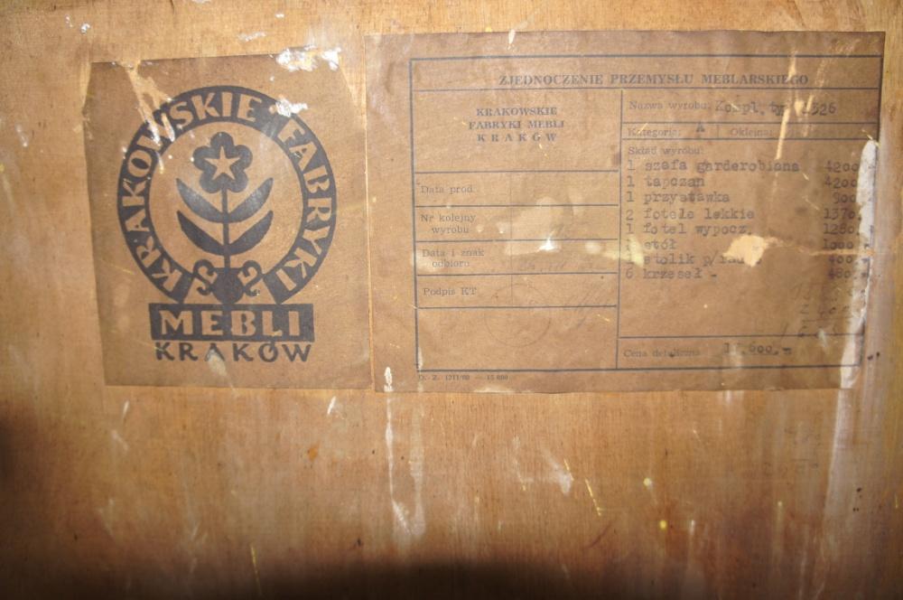 Szafa garderobiana typ 1326 Krakowskie Fabryki Mebli w Krakowie - etykieta