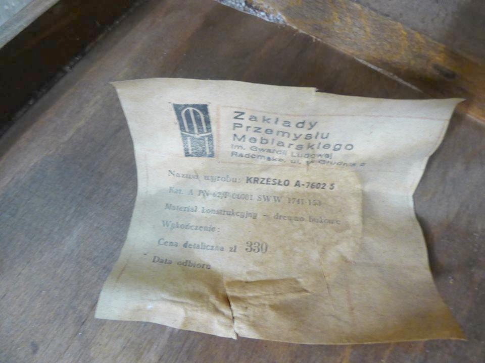 Krzesło typ A-7602/5, Radomsko [PRL], etykieta