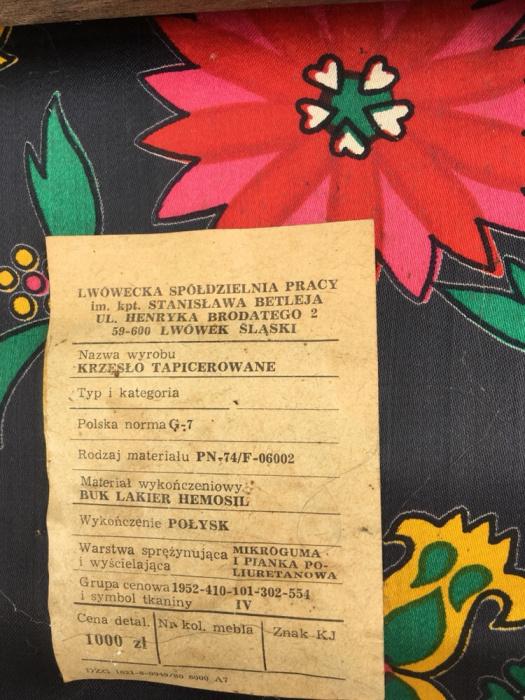 Krzesło tapicerowane - etykieta, Lwówecka Spółdzielnia Pracy, PRL