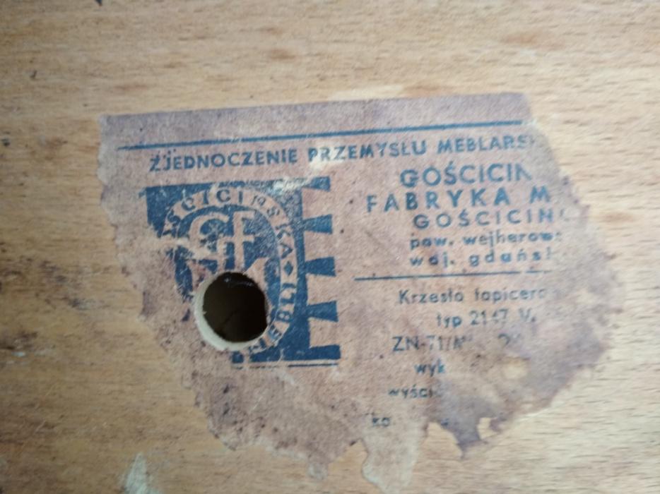 Krzesła typ 2147 Var, Gościcińska Fabryka Mebli w Gościcinie - etykieta