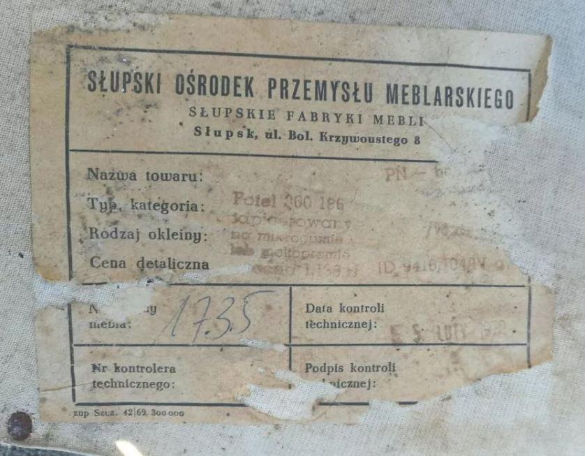 Fotel tapicerowany typ 300-186 Słupskie Fabryki Mebli