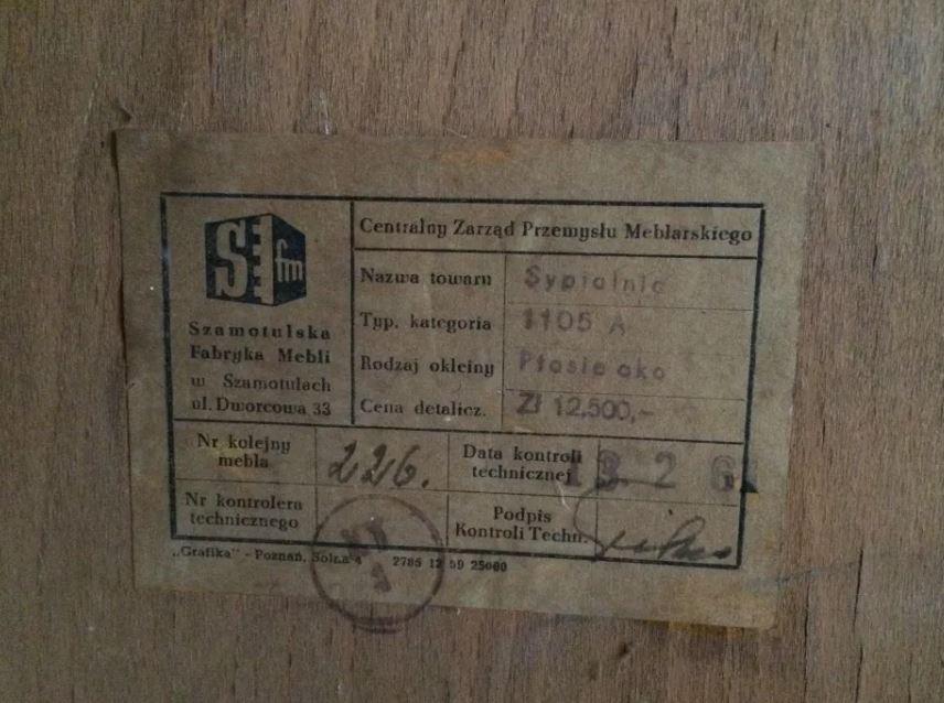Etykieta mebla PRL - zestaw typ 1105 A