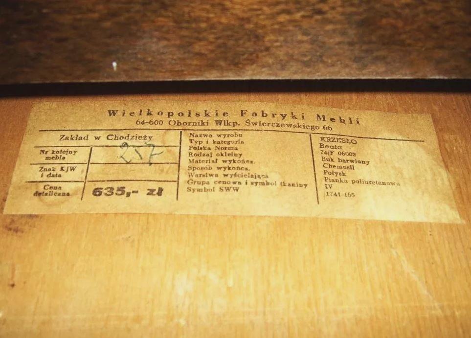 Krzesło Beata, Wielkopolskie Fabryki Mebli w Chodzieży , etykieta