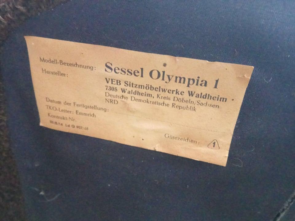 Fotel Sessel typ Olympia 1, Waldheim, NRD