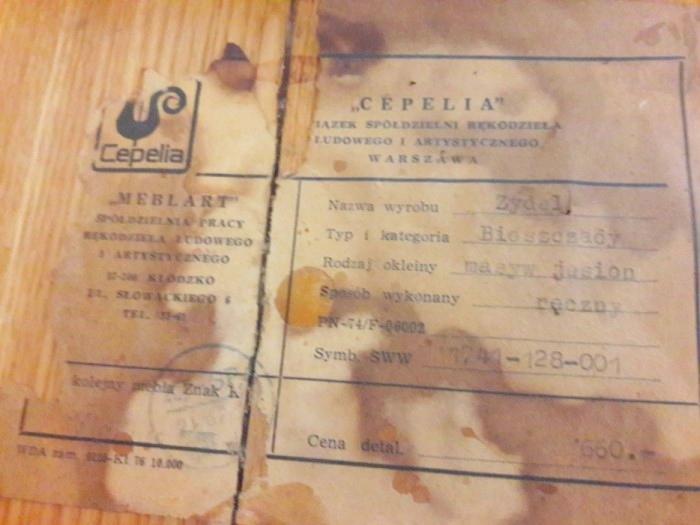 Etykieta zydla Bieszczady, Meblart, Cepelia