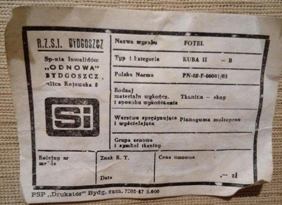 Fotel typ KUBA II - B, prod. Spółdzielnia Inwalidów Odnowa Bydgoszcz