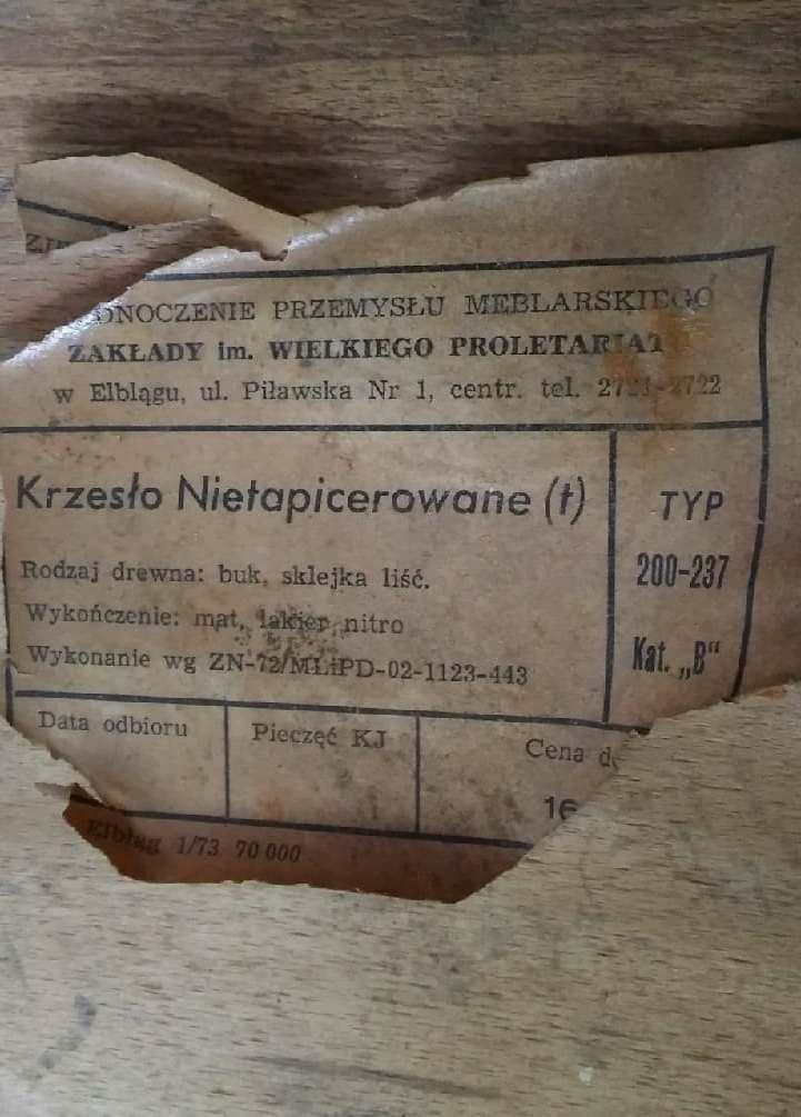 Krzesło nietapicerowane (stolarskie) typ 200-237 prod. Zakłady Wielkiego Proletariatu w Elblągu - etykieta
