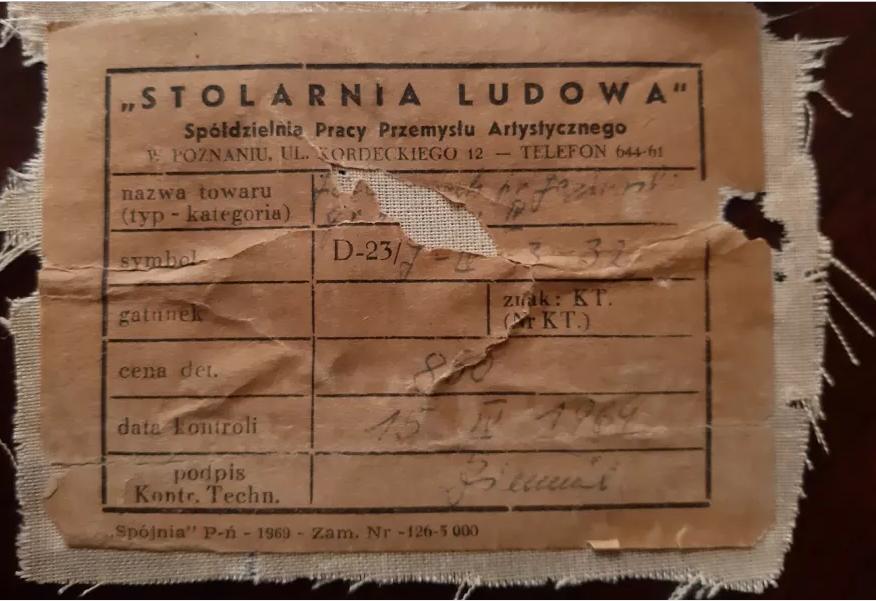 """Fotel prod. Spółdzielnia Pracy Przemysłu Artystycznego """"Stolarnia Ludowa"""", 1964 rok"""