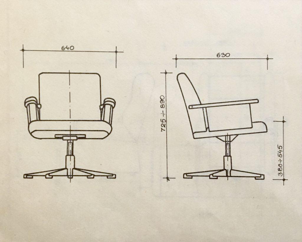 Fotel obrotowy KOS prod. Lubuskie Fabryki Mebli, rysunek z wymiarami projektowymi