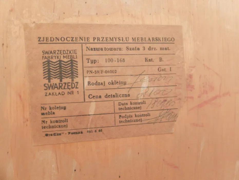 Szafa typ 100-168, prod. Swarzędzkie Fabryki Mebli, (PRL)