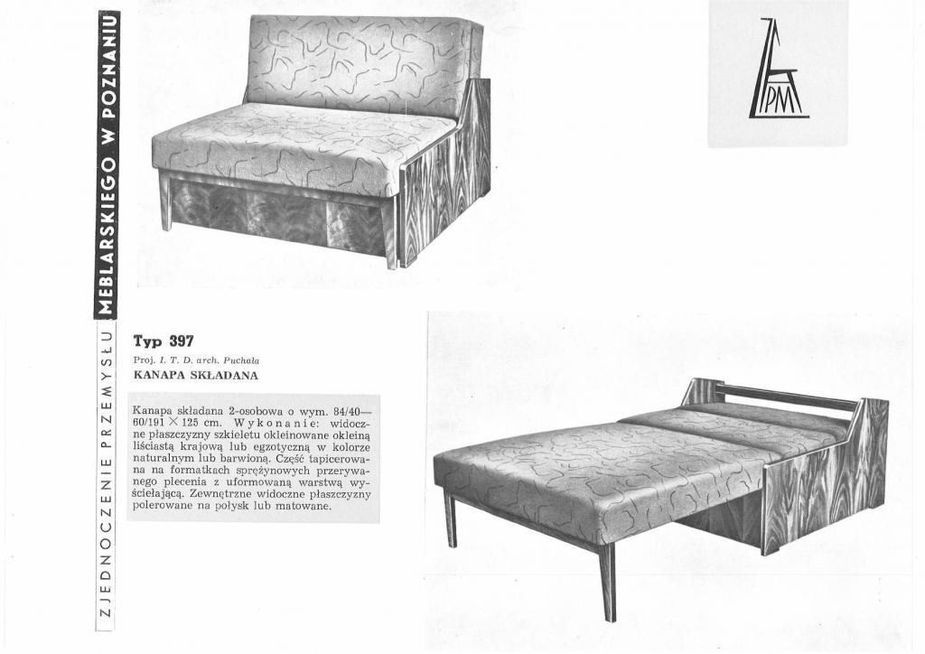 Fotel rozkładany amerykanka proj. Mieczysław Puchała - 1960